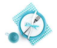 Fork with knife over blank plates Royalty Free Stock Images