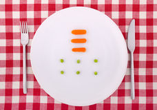 Free Fork, Knife, Peas And Carrotts On The Plate Royalty Free Stock Images - 13396739