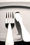 Fork, knife and plate Stock Photography