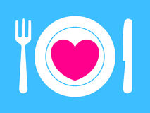 Fork, knife and plate with pink heart. Love is served stock illustration