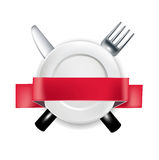 Fork and knife with plate and red ribbon banner  illustrat Stock Photography