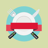 Fork and knife with plate and red ribbon banner  Stock Photo