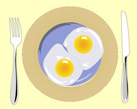 Fork with a knife and a plate of scrambled eggs. On a beige background Royalty Free Stock Photo