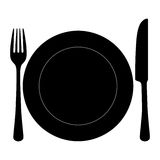 Fork knife and plate silhouette. On white background Royalty Free Stock Photography