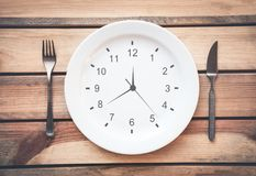 Fork with knife and plate on the table. Time to eat. Stock Images