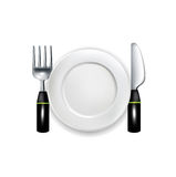 Fork and knife with plate vector illustration Stock Photos