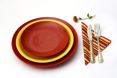 Fork with knife, plates and napkin Stock Photos