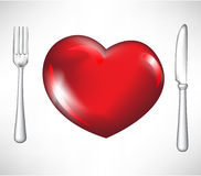 Fork and knife with red heart Royalty Free Stock Images