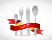 Fork, knife and ribbon illustration design Royalty Free Stock Photos