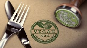 Vegan Restaurant. Fork, knife and rubber stamp with the text vegan stamped over cardboard background. Concept of restaurant. 3D illustration Royalty Free Stock Images