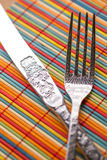 Fork & Knife Set 2. Colored background Stock Photo
