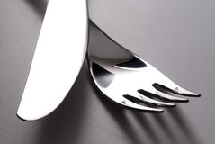 Fork and knife silverware Royalty Free Stock Photography