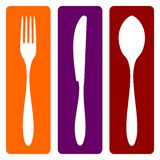 Fork, knife and spoon. Cutlery icons. Fork, knife and spoon silhouettes on different backgrounds. Vector avaliable vector illustration