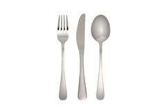Fork, knife and spoon. In front of white background with clipping path royalty free stock image