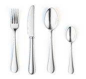 Fork, knife and spoon. Isolated on white background stock illustration