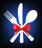 Fork, knife and spoon. Vector fork, knife and spoon icon on background Stock Photography