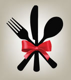 Fork, knife and spoon. Vector fork, knife and spoon icon on background Stock Photos