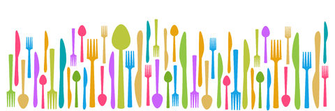 Fork Knife Spoon Abstract Colorful Horizontal Stock Photo