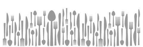 Fork Knife Spoon Abstract Gray Horizontal Royalty Free Stock Images