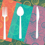 Fork Knife Spoon Floral Colourful Royalty Free Stock Photo