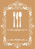 Fork, knife and spoon in floral frame Stock Image