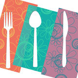 Fork Knife Spoon Floral Isolated Stock Photography
