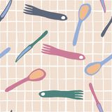 Fork, knife, Spoon seamless pattern Simple style vector illustration