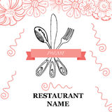 Fork, Knife, Spoon hand drawing sketch set Royalty Free Stock Image