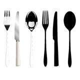 Fork, knife and spoon stock illustration