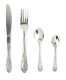 Fork, knife and spoon isolated on white. Background royalty free stock photo