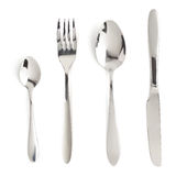 Fork, knife and spoon isolated on white. Background stock photo