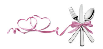 Fork knife spoon with pink ribbon heart element Valentine isolat Stock Photography