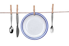 Fork, knife, spoon and plate o Stock Photography