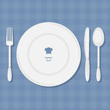 Fork, knife, spoon and plate  vector. Stock Photo