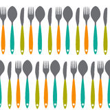 Fork, Knife and Spoon Seamless Pattern Vector Royalty Free Stock Images