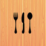 Fork, knife and spoon sign. Royalty Free Stock Images