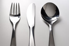 Fork, knife and spoon silverware Royalty Free Stock Images