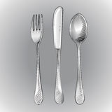 Fork, knife and spoon Stock Photos