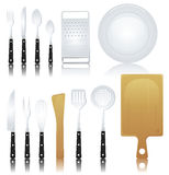 Fork, Knife And Various Kitchenware Royalty Free Stock Image