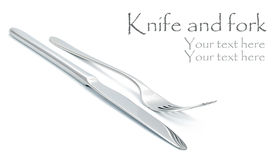 Fork and knife on white Royalty Free Stock Photos