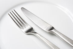 Fork and Knife on White Plate Stock Image