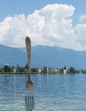 Fork in the lake Leman. Amazing view of lake Leman from town of Vevey and big fork in the lake, canton Vaud, Switzerland Royalty Free Stock Photos