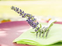 Fork with lavender flowers on  green napkin Royalty Free Stock Photography