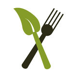 Fork leave healthy food symbol Royalty Free Stock Photography