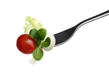 Fork lettuce salad leaves, tomato and mozzarella isolated on white Stock Photos