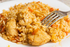 Fork lies on a plate with a delicious pilaf Royalty Free Stock Images