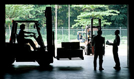 Fork Lift. Moving freight inside warehouse