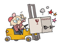 Fork-lift accident Royalty Free Stock Photo