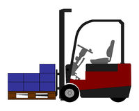Fork lift with boxes Royalty Free Stock Photos