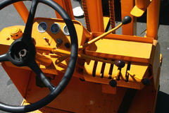 Fork lift controls. The many levers to control a fork lift Royalty Free Stock Images